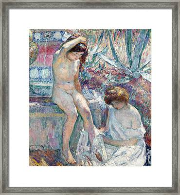 Marthe And Madame Lebasque At The Fountain Framed Print by Henri Lebasque