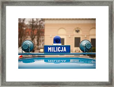 Martial Law Militia Blue Car Cherry Framed Print
