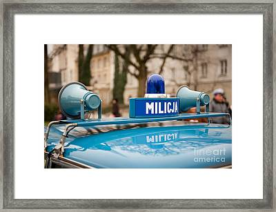 Martial Law Militia Blue Car Detail Framed Print
