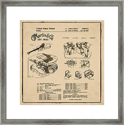 Martin Guitar Patent Dx1 1995 Sepia Framed Print by Bill Cannon