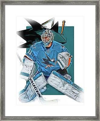 Martin Jones San Jose Sharks Oil Art Framed Print