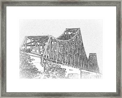 Martin Luther King Bridge Line Art Bw Framed Print