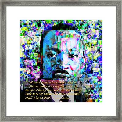 Martin Luther King Jr In Abstract Cubism 20170401 Text Framed Print