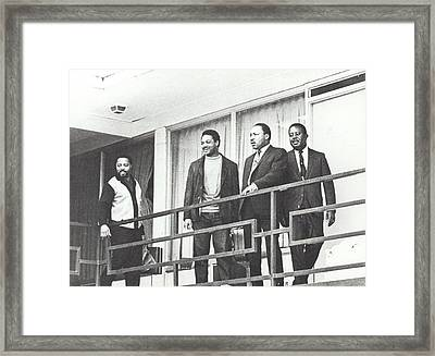 Martin Luther King Standing On The Balcony Of The Memphis Hotel Framed Print by American School