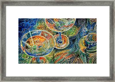 Martini Bar A Fine Art Batik By M Baldwin Framed Print by Marcia Baldwin