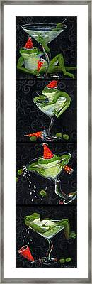 Martini Frogs Framed Print by Debbie McCulley