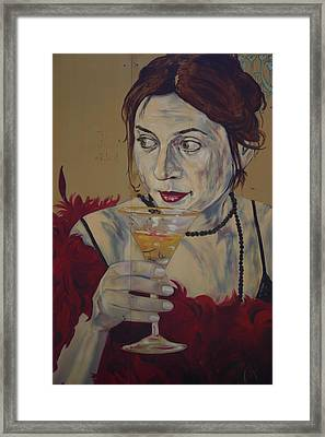 Martini Lady Framed Print by Dennis Curry
