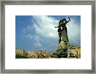 Martyr's Statues In Beirut Framed Print by Sami Sarkis