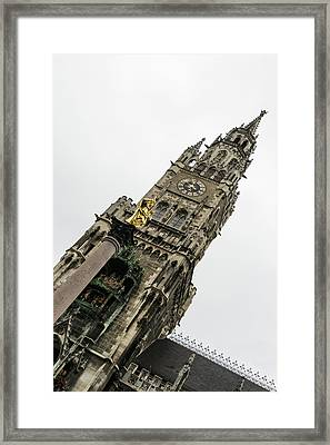 Marvelous Munich - Mariensaule Saint Marys Column And The New City Hall Framed Print