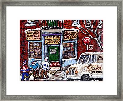 Marvins And Tabachnicks Grocery With J J Joubert Milk Truck Ball Ave Park Ex Montreal Memories Art Framed Print by Carole Spandau