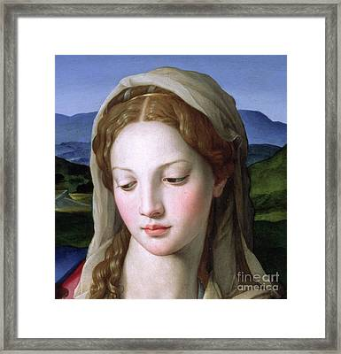 Mary Framed Print by Agnolo Bronzino