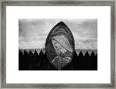 Framed Print featuring the photograph Mary Altar Cloth by Jeanette O'Toole