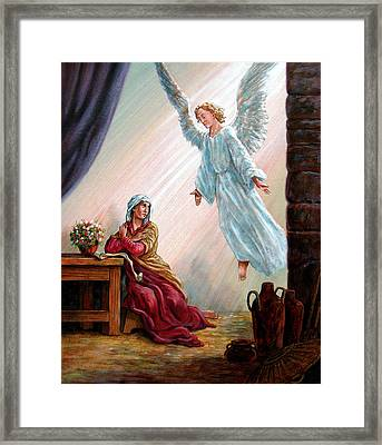 Mary And Angel Framed Print by John Lautermilch