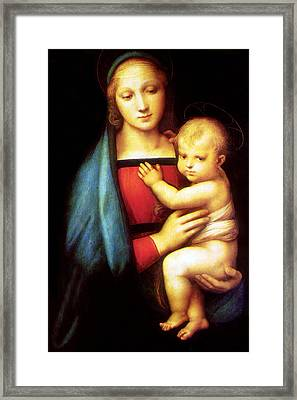 Mary And Baby Jesus Framed Print by Munir Alawi