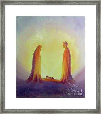 Mary And Joseph Look With Faith On The Child Jesus At His Nativity Framed Print