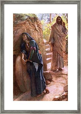 Mary Magdalene At The Sepulchre Framed Print by Harold Copping