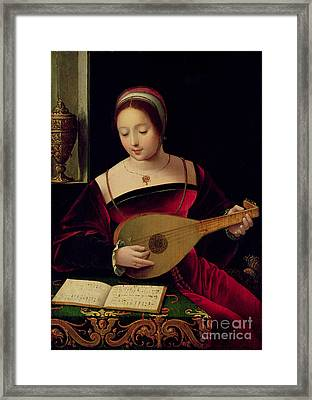 Mary Magdalene Playing The Lute Framed Print
