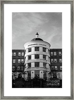 Mary Nelson Hall - Mississippi College Bw Framed Print