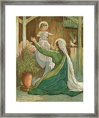 Mary Playing With Jesus Framed Print by John Lawson