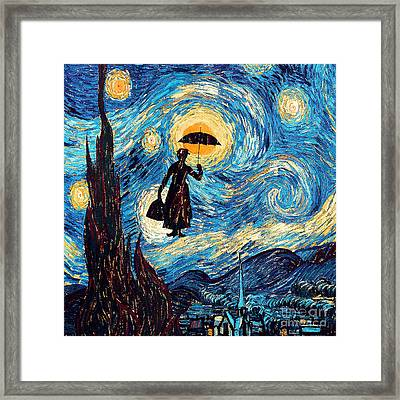 Mary Poppins Starry Night Oil Painting Framed Print