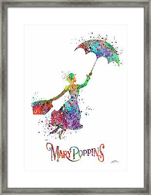 Mary Poppins Watercolor Print Mary Poppins Watercolor Print Llustrations Kid's Room Wall Poster Gicl Framed Print