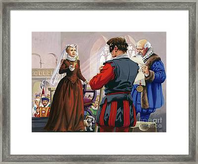 Mary Queen Of Scots About To Be Beheaded At Fotheringay Castle Framed Print by Pat Nicolle