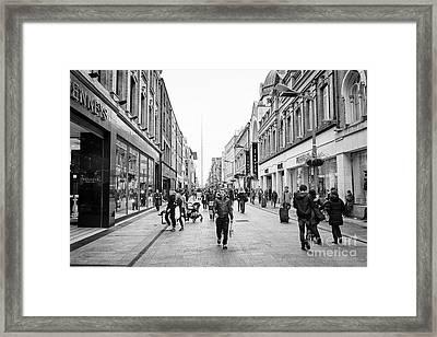 mary street and jervis shopping centre pedestrian shopping area dublin city centre Ireland Framed Print