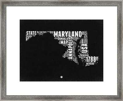 Maryland Black And White Map Framed Print