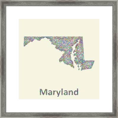 Maryland Line Art Map Framed Print