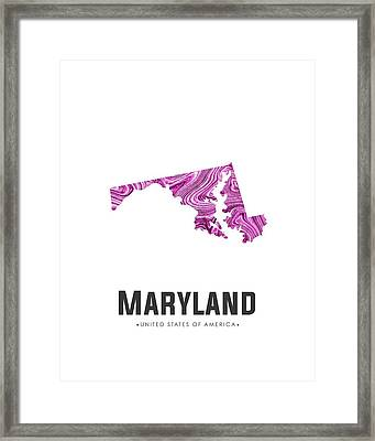 Maryland Map Art Abstract In Purple Framed Print