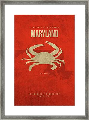 Maryland State Facts Minimalist Movie Poster Art Framed Print