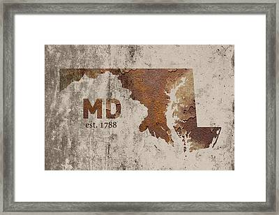 Maryland State Map Industrial Rusted Metal On Cement Wall With Founding Date Series 027 Framed Print by Design Turnpike