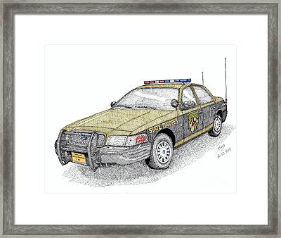 Maryland State Police Car Style 1 Framed Print