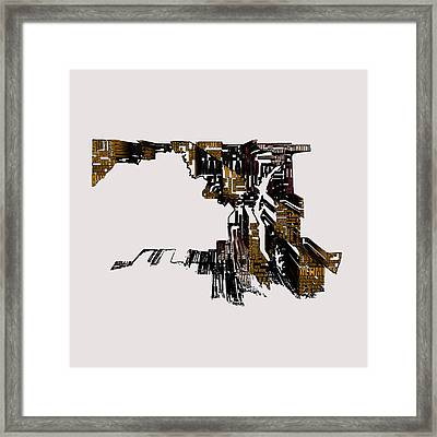 Maryland Typographic Map 4h Framed Print