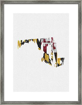 Maryland Typographic Map Flag Framed Print