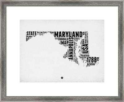 Maryland Word Cloud 2 Framed Print by Naxart Studio