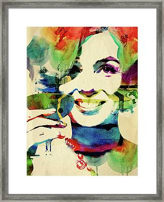 Marilyn And Her Drink Framed Print by Mihaela Pater