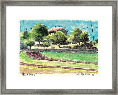 Framed Print featuring the painting mas en Provence landscape by Martin Stankewitz