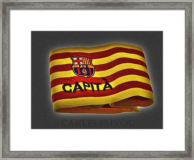 Framed Print featuring the photograph Mas Que Un Capitan - Carles Puyol by Juergen Weiss