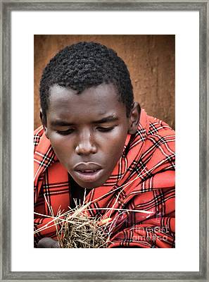 Framed Print featuring the photograph Masai Firemaker by Karen Lewis
