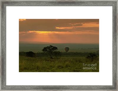Framed Print featuring the photograph Masai Mara Balloon Sunrise by Karen Lewis