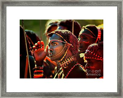 Framed Print featuring the photograph Masai by Nigel Fletcher-Jones
