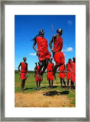 Masai Warrior Dancing Traditional Dance Framed Print