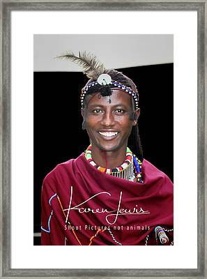 Framed Print featuring the photograph Masai Warrior by Karen Lewis