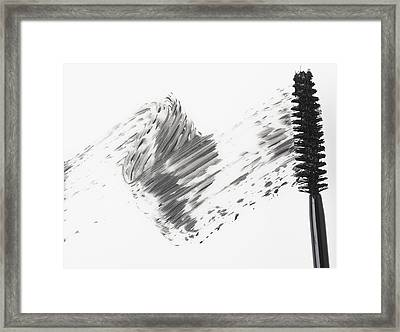 Mascara Brush Leaving Traces Of Mascara Framed Print by Eric Kulin