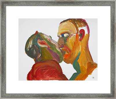 Masculine Kiss Framed Print by Shungaboy X