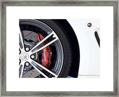 Maserati Wheel White Framed Print