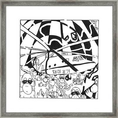 Mash Research Team Of Monkeys Maze Comic Framed Print by Yonatan Frimer Maze Artist