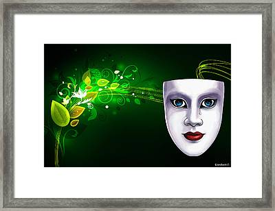 Mask Blue Eyes On Green Vines Framed Print