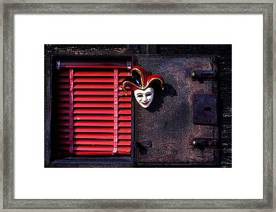 Mask By Window Framed Print